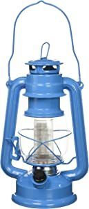 Northpoint 190610 Vintage Style Santorini Blue Hurricane 12 LED's and 150 Lumen Light Output and Dimmer Switch, Battery Operated Hanging Lantern for Indoors and Outdoor Usage