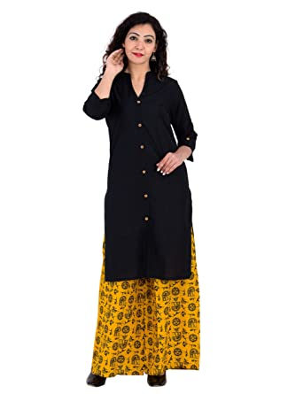 b26df78027 Amazon.com: BrightJet Cotton Black Kurti with Yellow Rayon Palazzo Set Kurta  Top Tunic Women: Clothing
