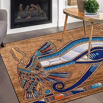 Naanle Egypt Area Rug 5 X7 Egyptian Horus Eye Polyester Area Rug Mat For Living Dining Dorm Room Bedroom Home Decorative Furniture Decor