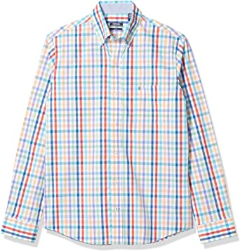 IZOD Mens Slim Fit Button Down Long Sleeve Stretch Performance Plaid Shirt