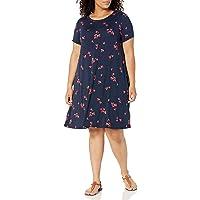 Women's Plus Size Short-Sleeve Scoopneck Swing Dress