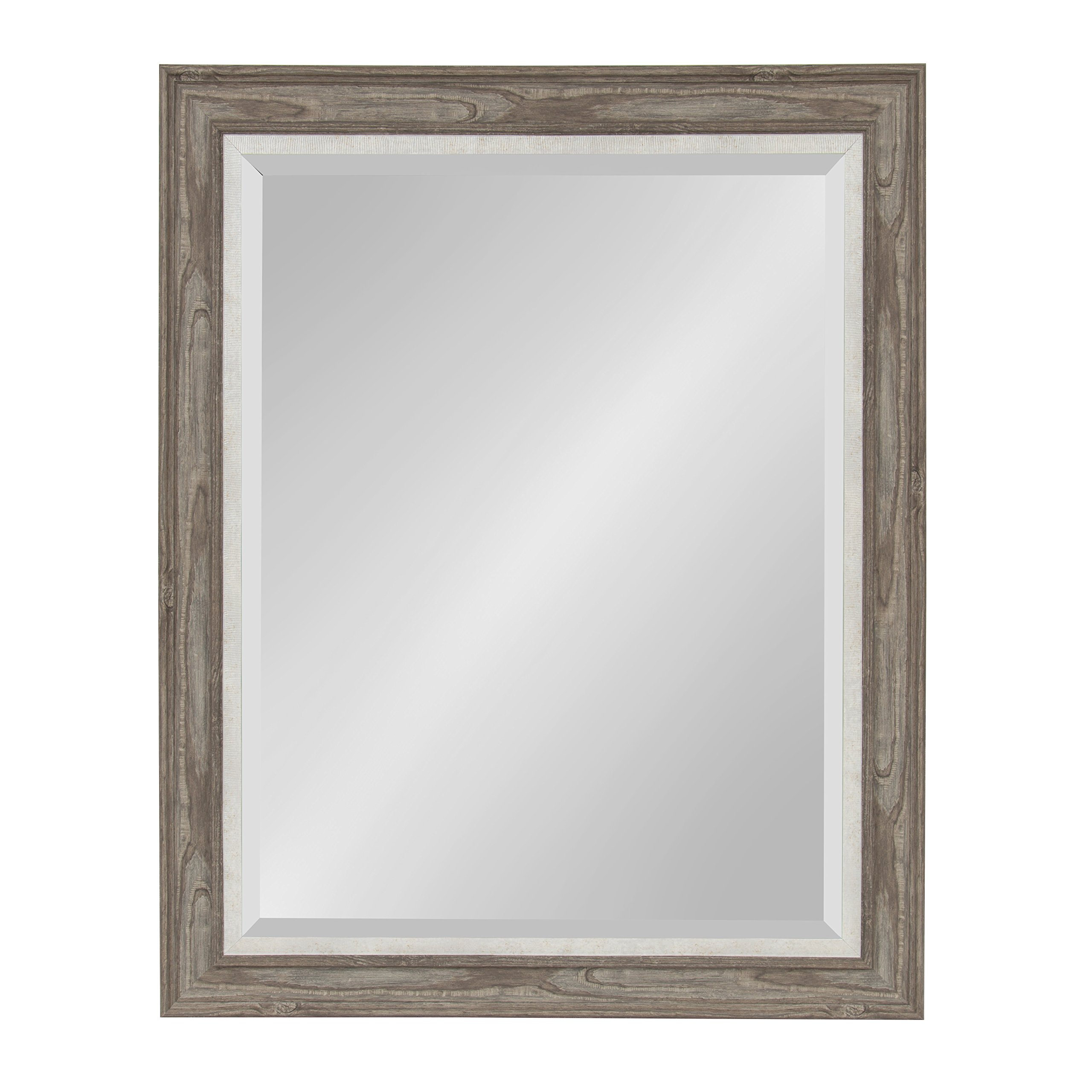 Kate and Laurel Woodway Large Framed Wall Mirror, 27.5 x 33.5 Inches, Rustic Gray