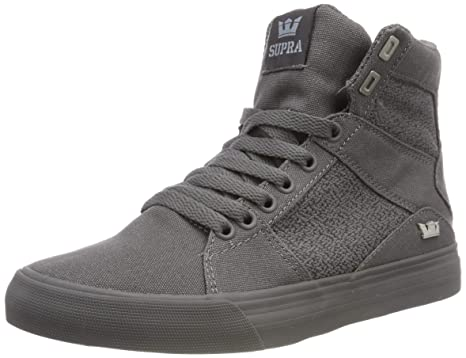 98ac0ddaeb2a Amazon.com  Supra Aluminum Mens Gray Canvas High Top Lace up ...