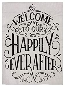 "pingpi Family Quote Double Sided Burlap Garden Flag 12.5""x18"",Welcome to Our Happily Ever After"