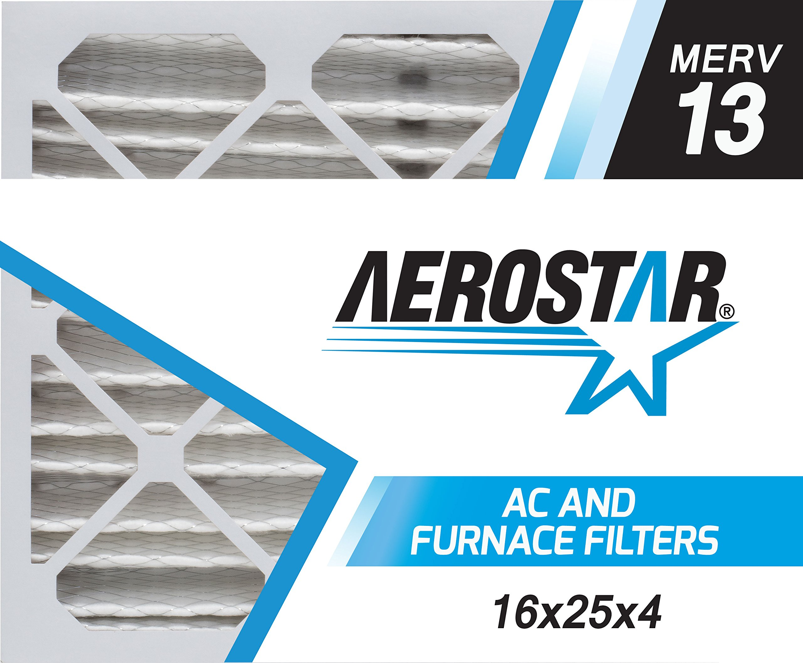 Aerostar 16x25x4 MERV 13, Pleated Air Filter, 16 x 25 x 4, Box of 4, Made in The USA