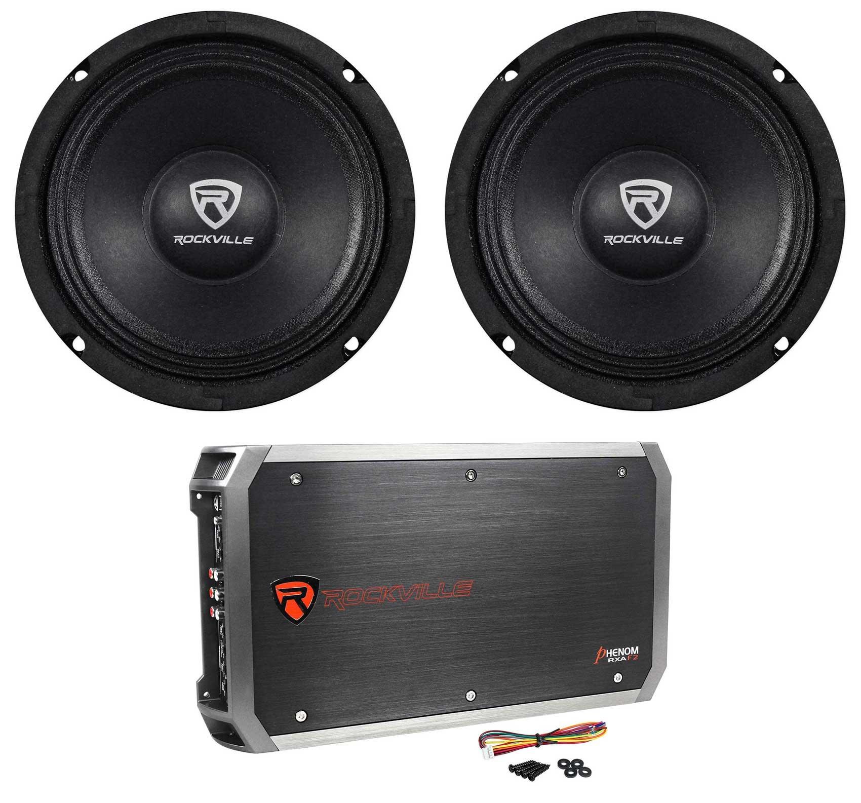 (2) Rockville RM64PRO 6.5'' Mid-Bass Midrange Car Speakers+4-Channel Amplifier by Rockville