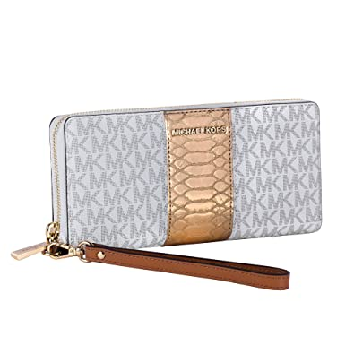 f2f5bc74f808 Image Unavailable. Image not available for. Color  Michael Kors Jet Set  Travel Logo and Embossed-Leather Continental Wristlet - Vanilla- 32F7GF6Z4B