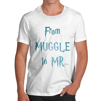 TWISTED ENVY Herren T-Shirt From Muggle To Mr Print Small Weiß