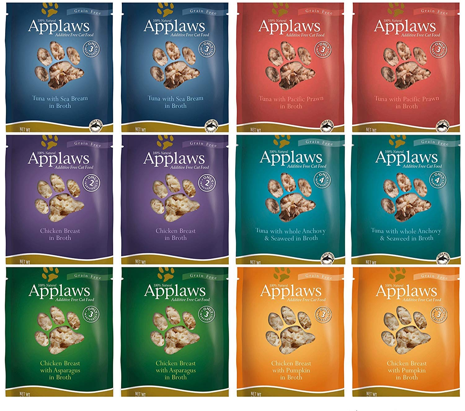 Applaws Grain Free Additive Free Cat Food 6 Flavor Variety Bundle (12 Pouches Total, 2.47 Ounces Each) by Applaws