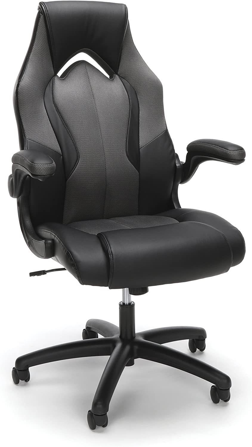 Essentials by OFM Ess-3086 High-Back Racing Style Bonded Leather Gaming Chair, Gray
