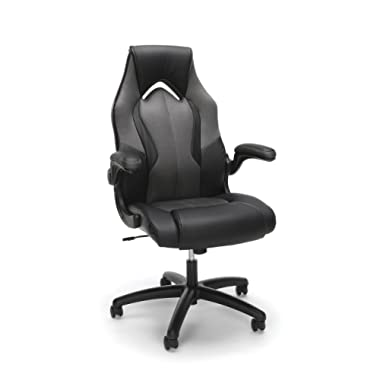 Essentials by OFM ESS-3086-GRY Ess-3086 High-Back Racing Style Bonded Leather Gaming Chair, Gray