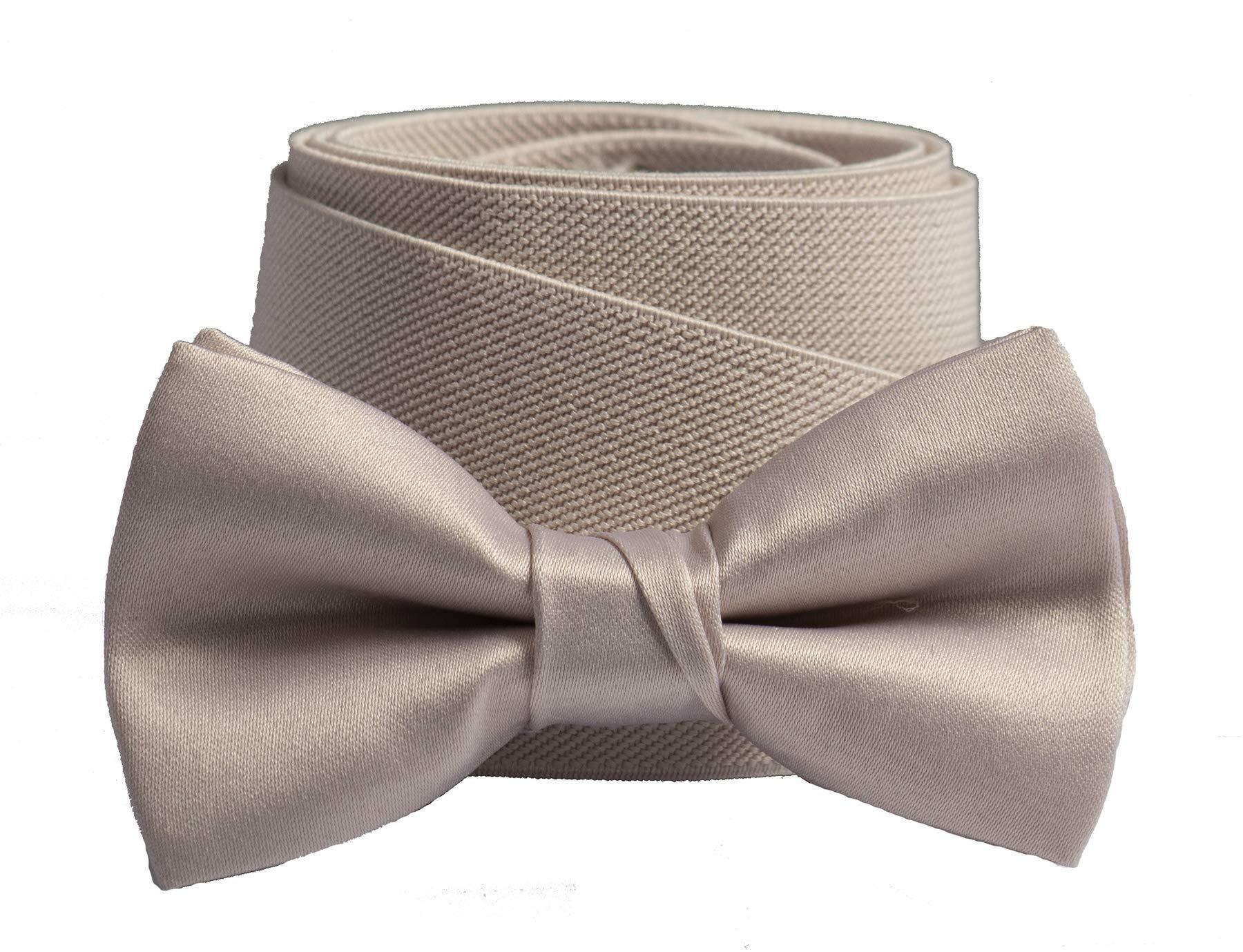 Tuxgear Boys Matching Adjustable Suspender and Bow Tie, Blush, Boys 30'' (Blush, Boys 30'')