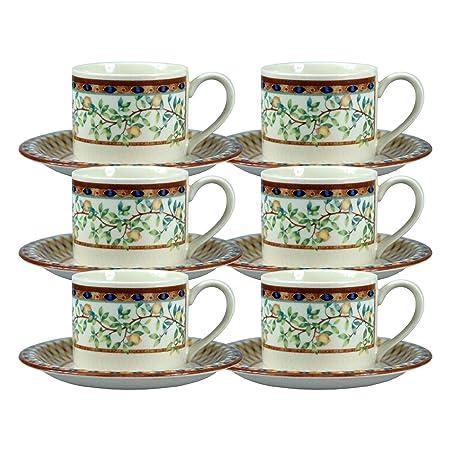 6 x porcelana taza de café y platillo de limonero Tesco Home ...