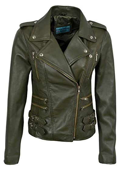 b6593e7cd MYSTIQUE Ladies Real Leather Jacket Dark Green Biker Motorcycle ...