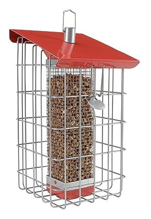The Nuttery Geohaus - Comedero dispensador de frutos secos, color rojo