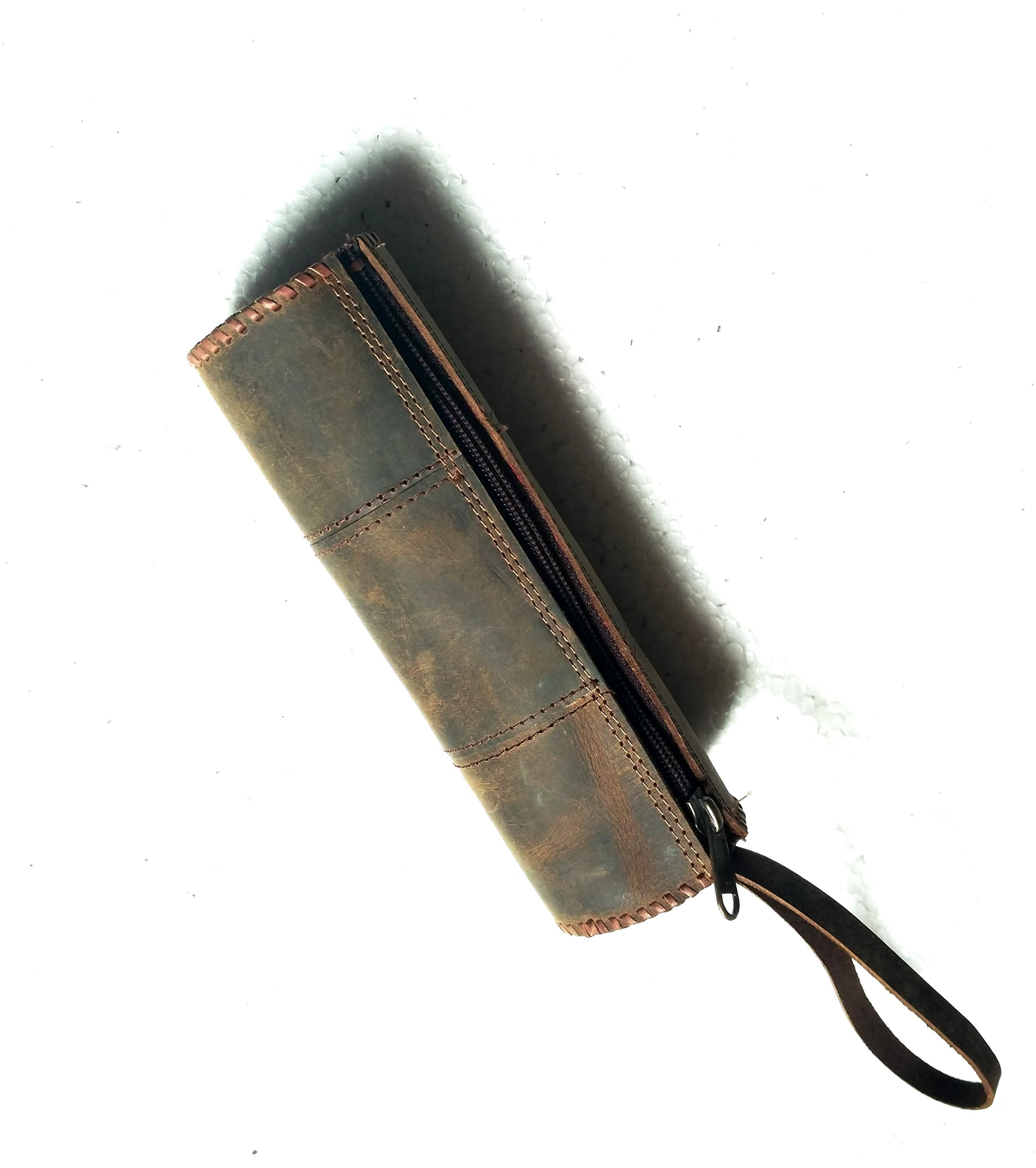 Genuine Leather Stationery Pencil Pen Case Art Pouch Office Uni College Smart Everyday Vintage Unisex Brown