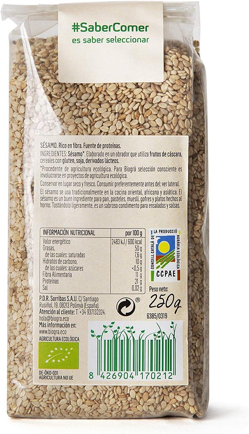 Biográ - Semillas de Sésamo Crudo (250 g): Amazon.es: Alimentación ...