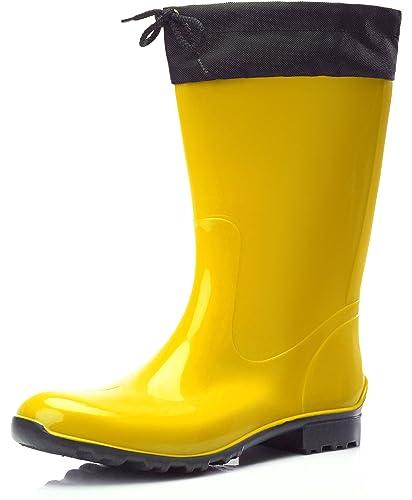 gelbe PVC Stiefel Gummistiefel Regenstiefel mit Stulpe für Damen und Herren (40) lKuq0