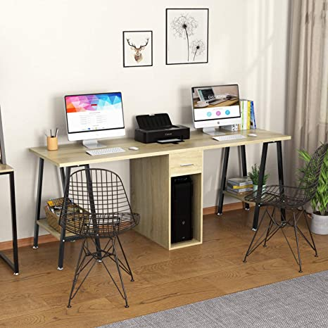 Dewel Two Person Desk 78 Double Computer Desk With Drawer Extra Long Office Work Table With Storage Shelves Wood Executive Craft Desk Furniture Decor