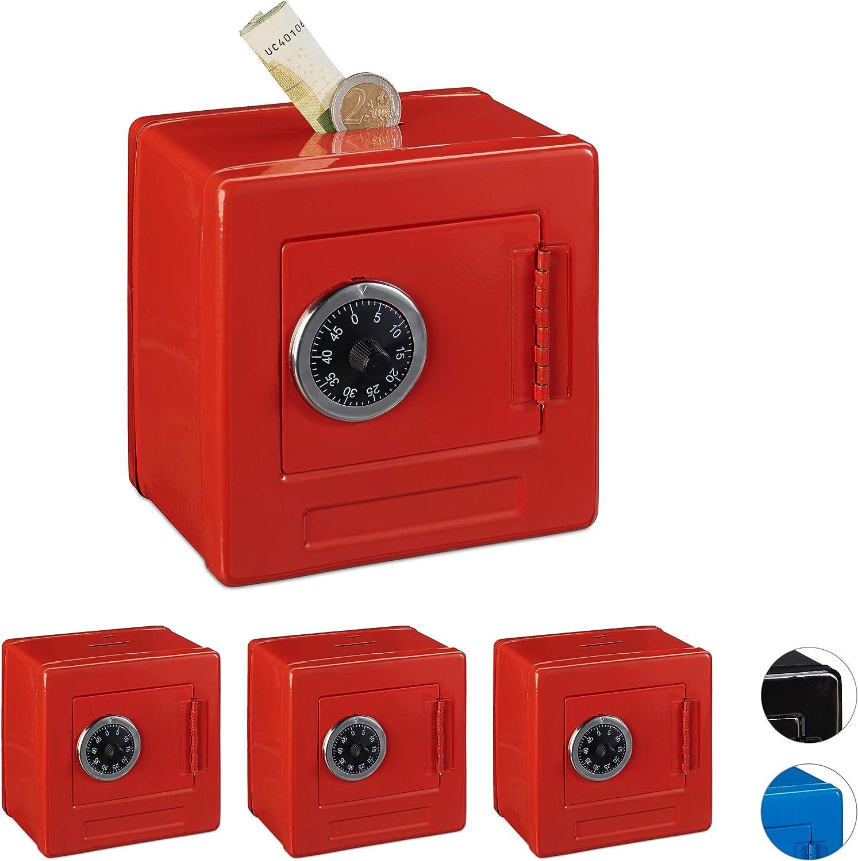 Relaxdays Set 4 Huchas Caja Fuerte para Niños, Hierro-Plástico, Rojo, 13,5 x 13 x 9 cm: Amazon.es: Hogar