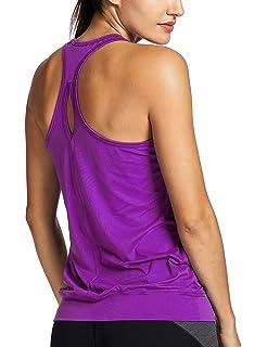 3e7bf4a2760fd SYROKAN Women s Active Racerback Athletic Sports T-shirt Long Yoga Crop  Tank Top