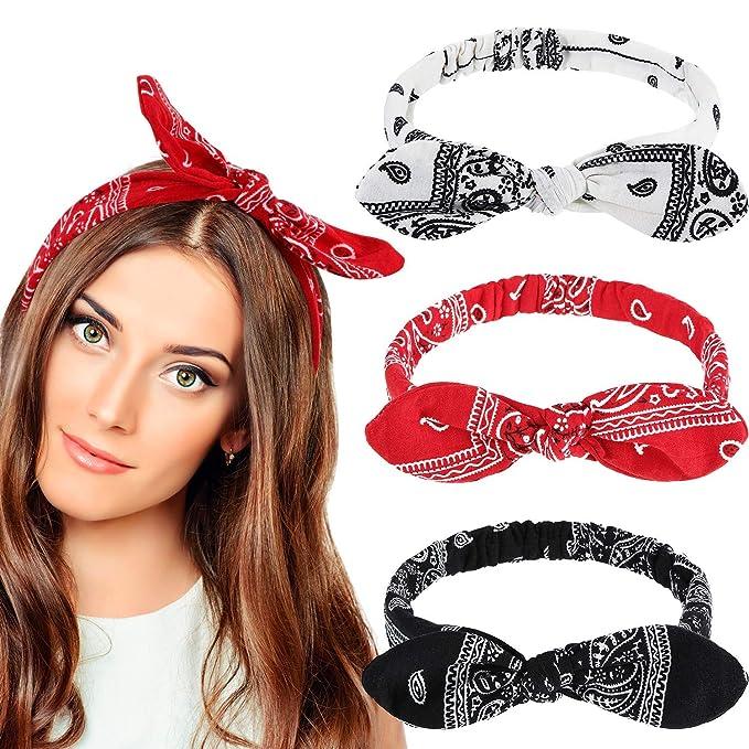 Elastic Headbands Soft Chiffon Floral Bohemian Hair Bands for Women Girls,Denim Fabric Folora 4Pcs Multicolored Rabbit Ears Hairband with bow