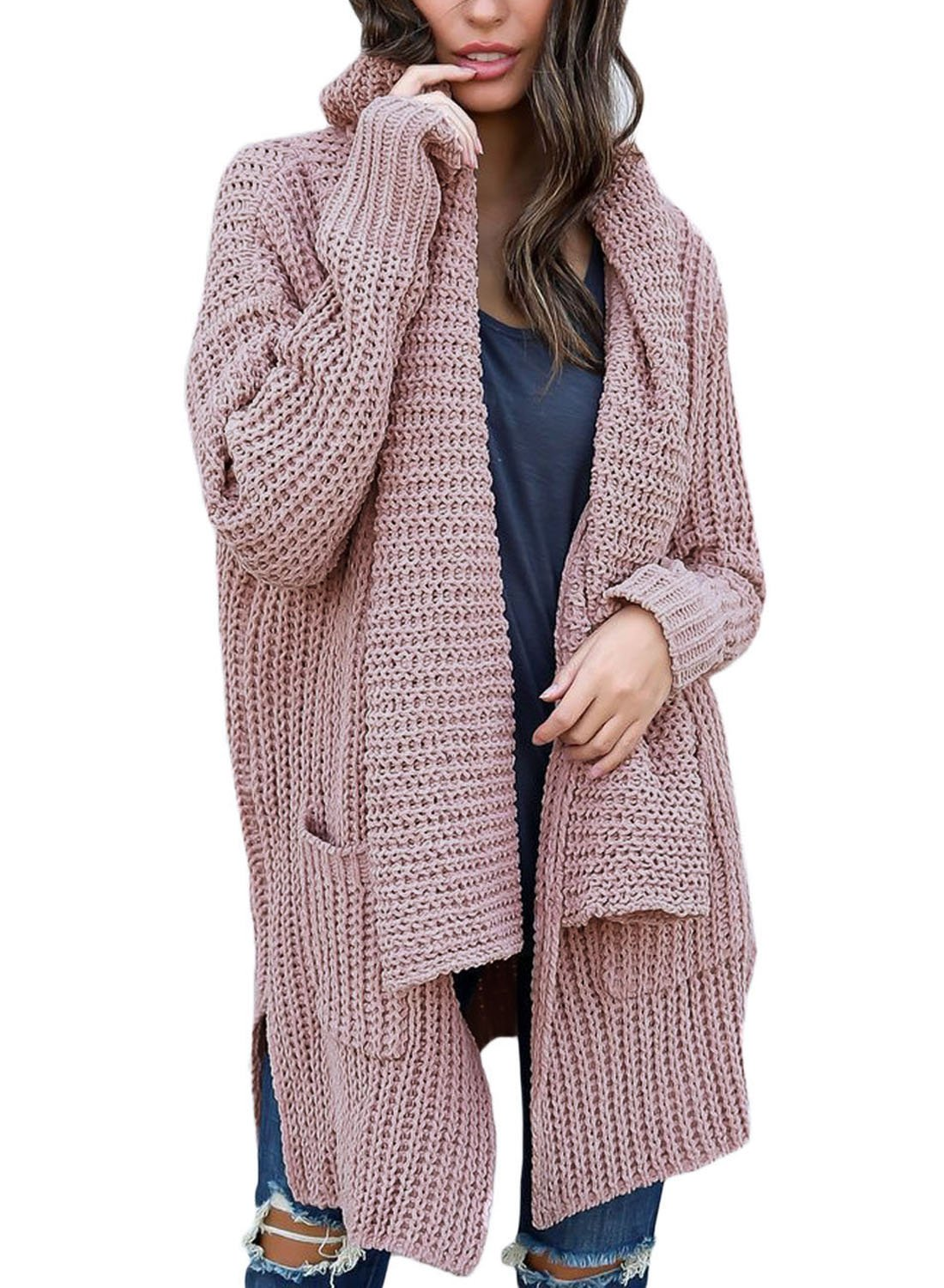 BLENCOT Womens Pink Ladies Sweaters Open Front Long Sleeve Casual Loose Chunky Knit Cardigans Outwears Pockets (US8-10) Medium