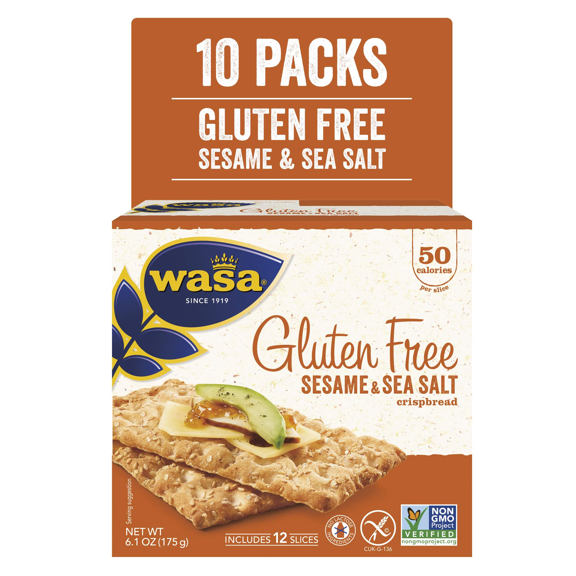 Wasa Gluten Free Sesame & Sea Salt Crispbread, 6.1 oz (Pack of 10) by Wasa