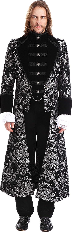 Pentagramme Men Gothic Vintage Long Tailcoat Masquerade Party Wedding Jacket: Clothing