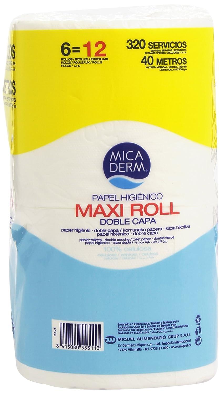 Mica Derm Maxi Roll Papel Higiénico con Doble Capa - 6 Rollos: Amazon.es: Amazon Pantry
