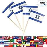 JBCD 100 Pcs Israel Flag Toothpicks Israeli Flags Cupcake Toppers Decorations, Cocktail Toothpick Flag Cake Topper Picks Mini