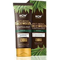 WOW Neem & Tea Tree Anti Acne Gentle Face Wash - OIL Free - No Parabens, Sulphate, Silicones & Color - 100ml