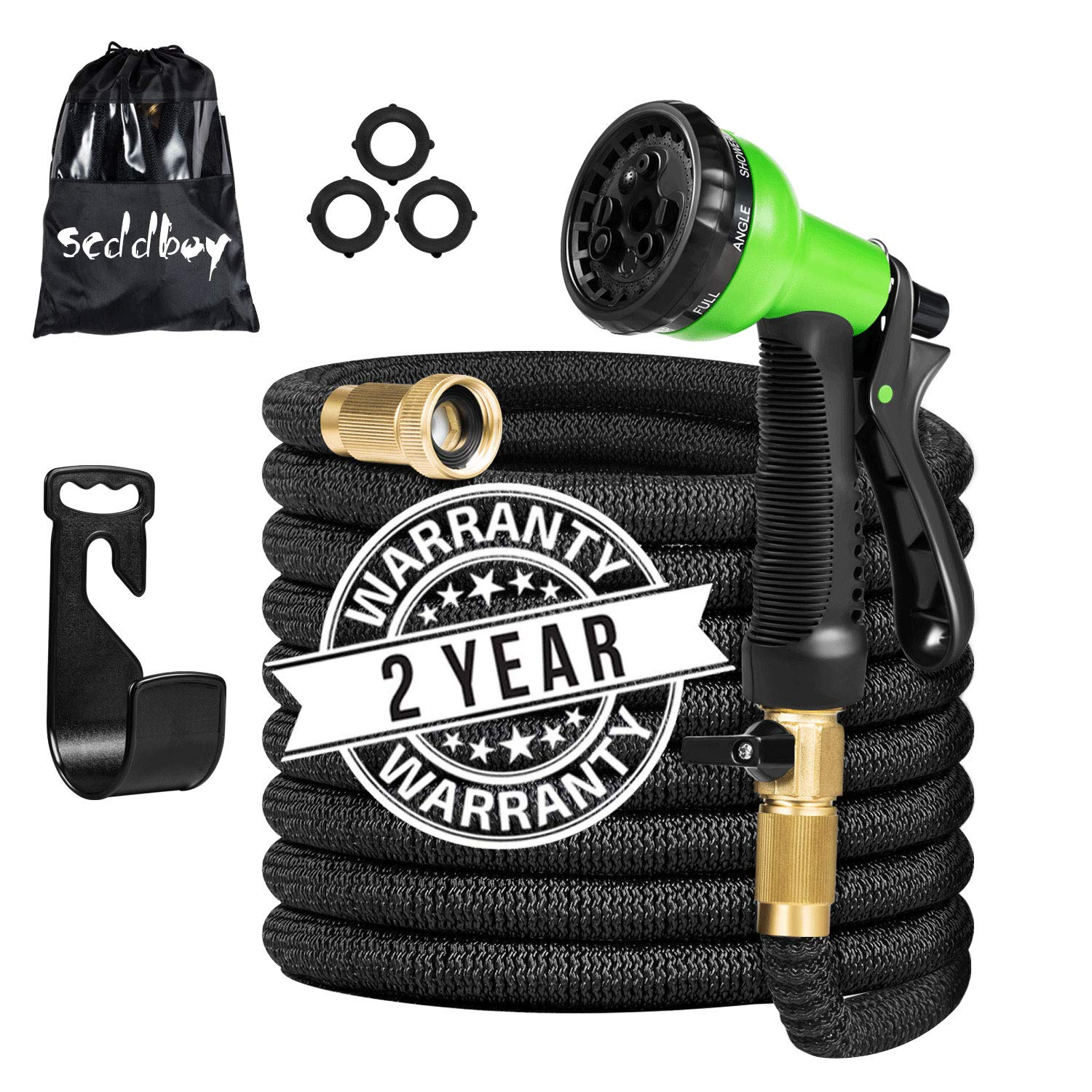 "Scboy Flexible and Expandable Garden Hose - 50 Feet Triple Latex Core Lightweight Water Hoses with 3/4"" Soild Brass Fittings Free 8 Function Nozzle,Easy Storage Kink Free Expanding Garden Hose"