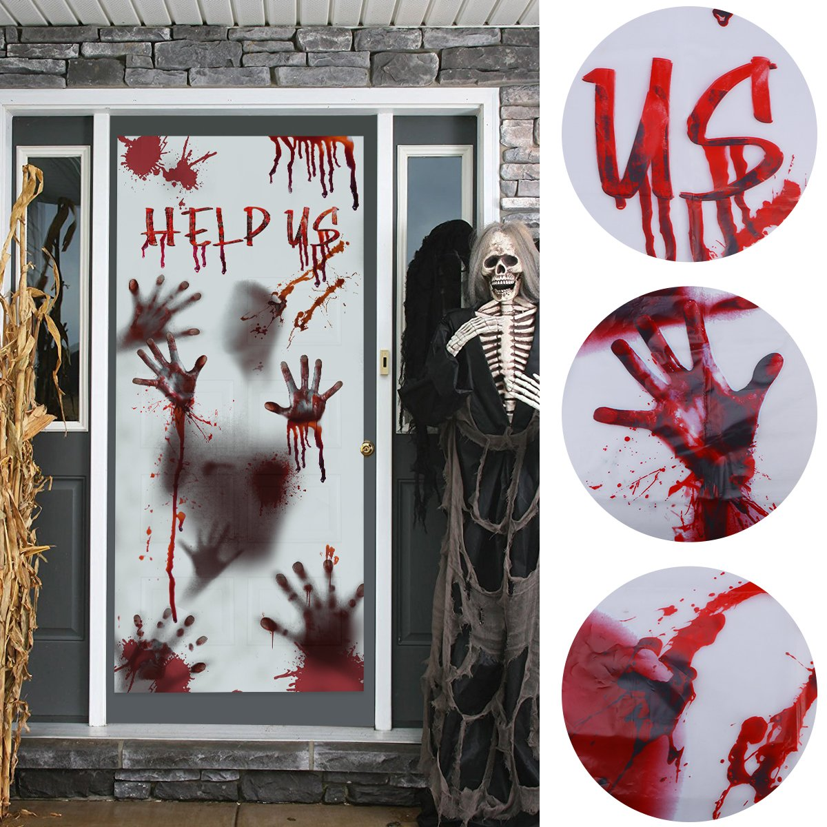 Unomor Halloween Window Door Covers Haunted House Decorations, Scary Bloody Handprint Props, 80×35.5""