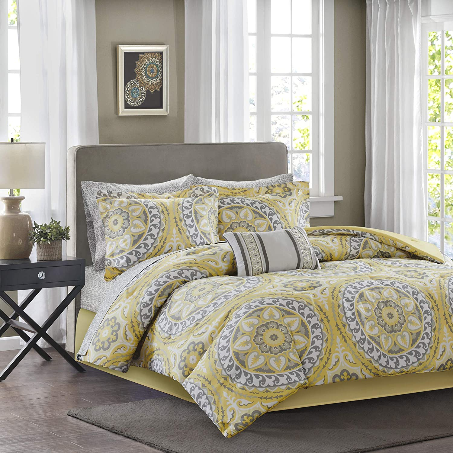 Madison Park Essentials Cozy Bag Comforter, Medallion Damask Design All Season Down Alternative Complete Sheet Set