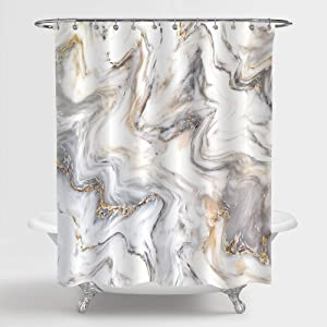 MitoVilla Gray Marble Shower Curtain Set with Hooks, Grey Gold White Striped Marble Bathroom Decor for Men and Women, Waterproof Washable Fabric Art Deco Shower Curtain, 72