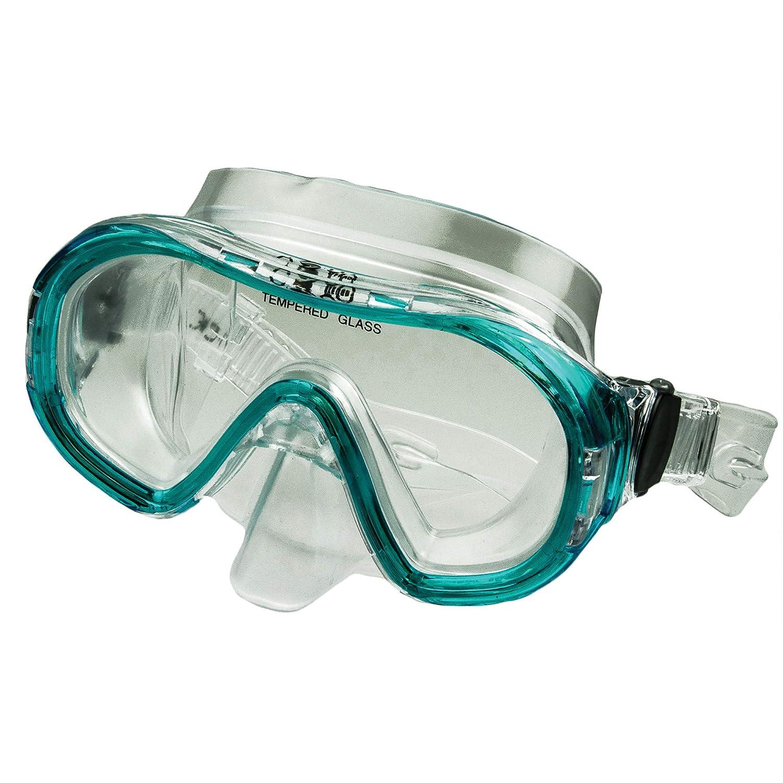 maschera sub con facciale in PVC maschera per sub con lenti in vetro temperato e sistema blocco cinturino automatico pack in box plastica Maschera subacquea professionale per ragazzi//donna Calipso