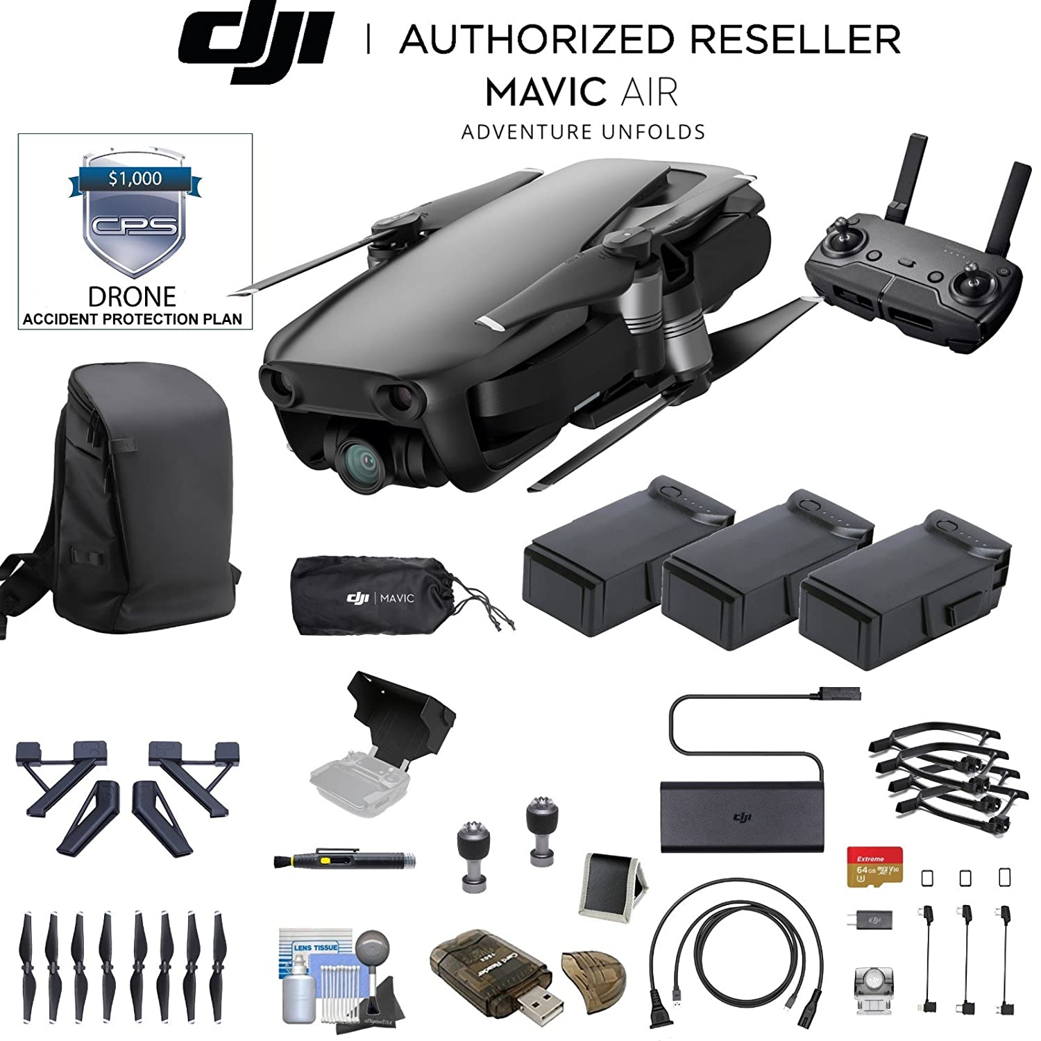 ArticホワイトDJI Mavic Air ( CP。PT。00000138.01 )クアッドコプタードローン3バッテリーバンドル, 3 Battery Bundle & Accidental Warranty, CP.PT.00000130.01-4 B07C7NJ2HY 3 Battery Bundle & Accidental Warranty|ブラック ブラック 3 Battery Bundle & Accidental Warranty