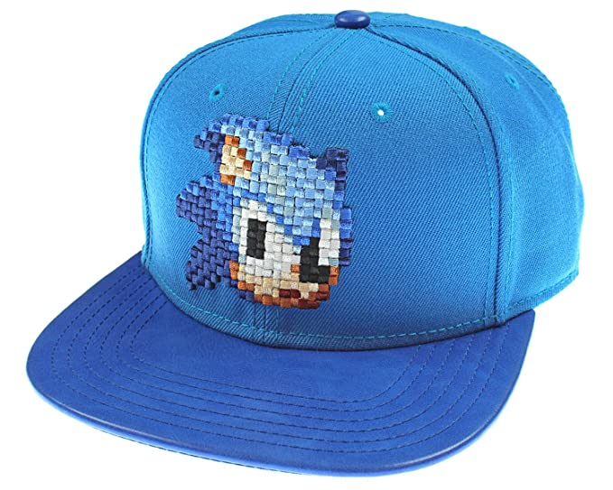 6747c3177 Sega Genesis Sonic The Hedgehog Hat - Blue 8 Bit Pixel Don't Blink Snapback