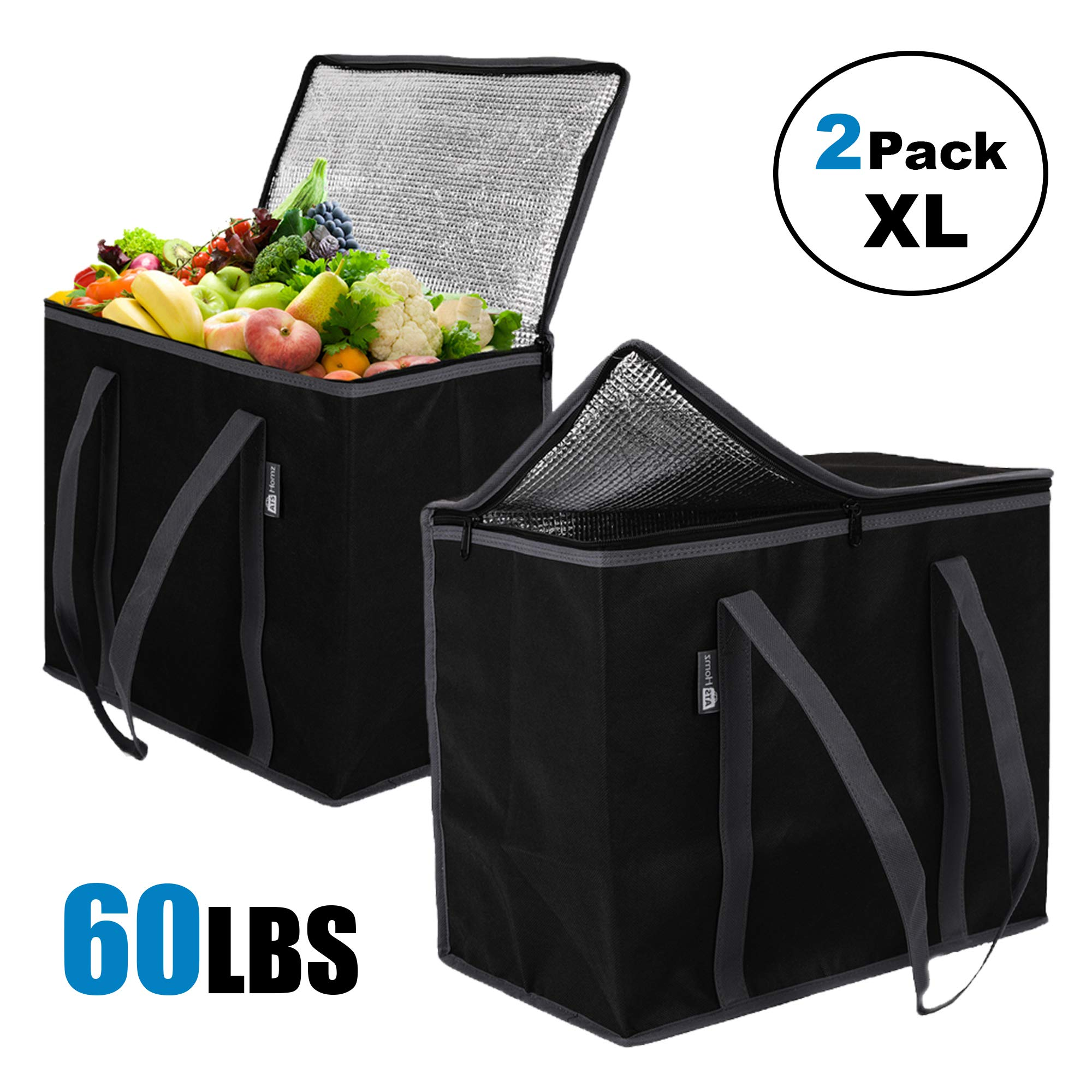 ATS Homz 2 Pack XL Insulated Grocery Bag: Eco Friendly Heavy Duty Foldable Shopping Storage Zipper Tote Bag for Hot and Cold Reusable Shopping Catering, Frozen Food Transport Delivery, Travel, Picnic