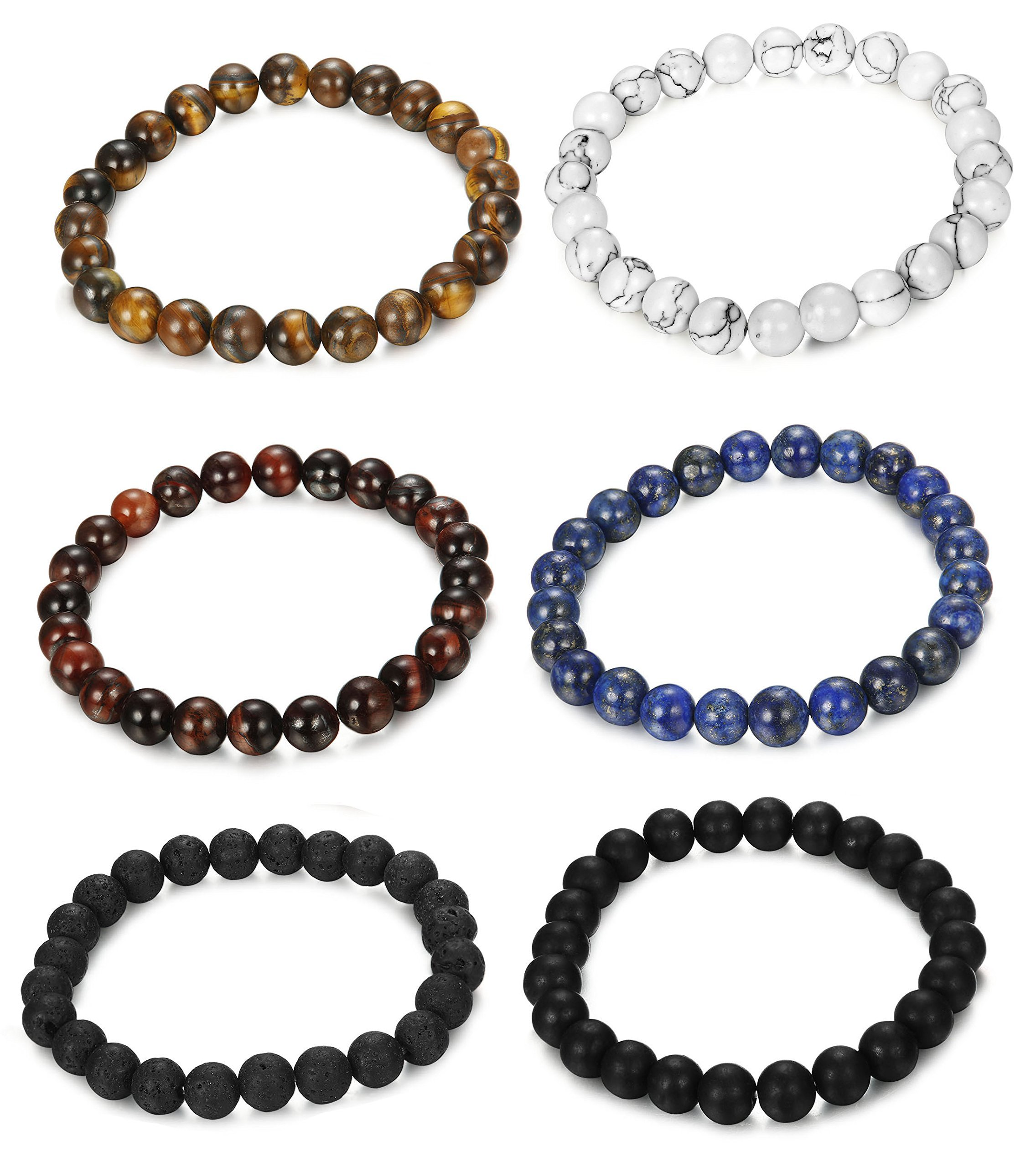 FUNRUN JEWELRY 6PCS Bead Bracelets for Men Women Natural Stone Mala Bracelet