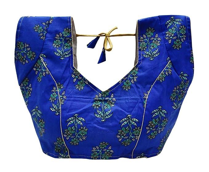 PEEGLI Blusa Acolchada Hermoso Diseño Floral Blusas Saris Tradicionales