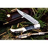 """DKC-54 SQUIRE MASTER Damascus Folding Laguiole Style Pocket Knife 4.5"""" Folded 8.5"""" Long 3.6oz oz High Class Looks Incredible Feels Great Hand Made DKC Knives"""