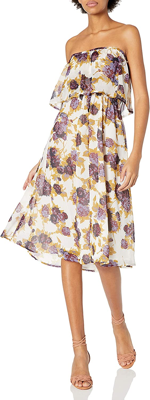 Volcom Juniors Canyon Call Floral Print Strapless Dress