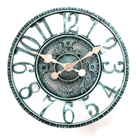 Exceptional Lilyshome Indoor Or Outdoor Wall Clock Steampunk Gear Cog Design, 12 Inch  Poly  Design Ideas