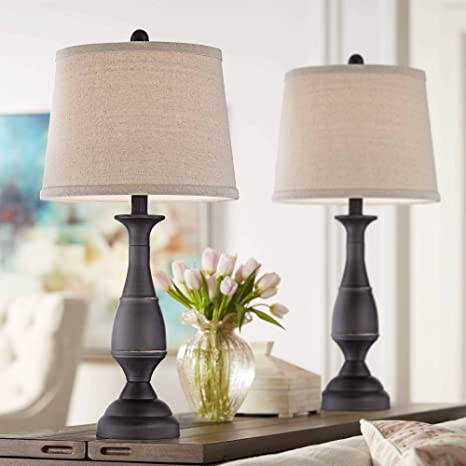 Ben Farmhouse Traditional Table Lamps Set Of 2 Dark Bronze Brown Metal Beige Linen Drum Shade Decor For Living Room Bedroom House Bedside Nightstand Home Office Entryway Family Regency Hill