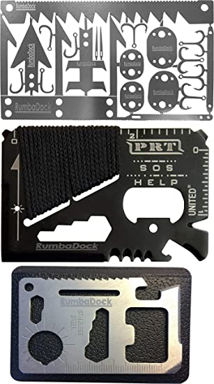 Details about  /Survival Multitool Stainless Steel Credit Card Size Emergency Kit Camping Hiking