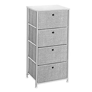 SONGMICS 4-Tier Dresser Tower, Fabric Drawer Organizer with 4 Easy Pull Drawers with Metal Frame,Wooden Tabletop for Living Room, Closet, 17.7 x 11.8 x 36.4 Inches, Light Gray and White ULTS04W