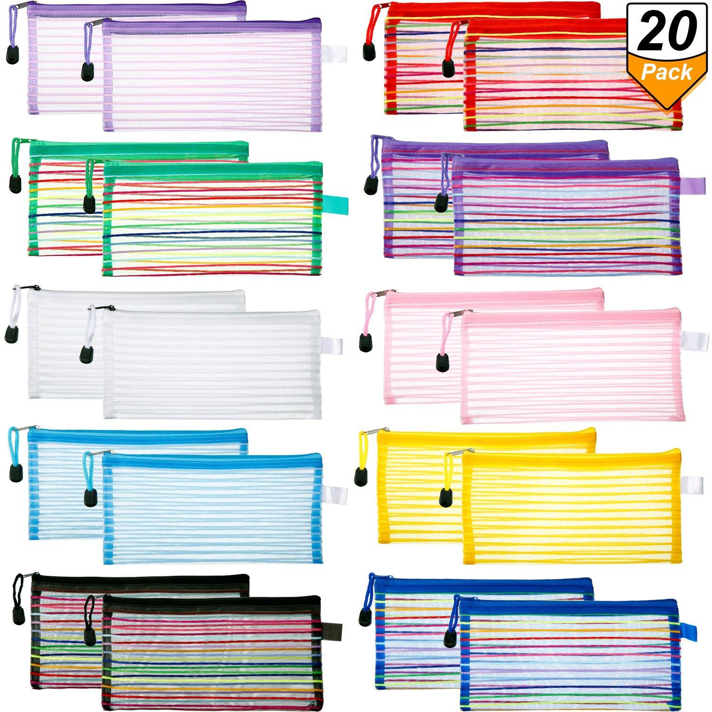 Bememo 20 Pieces 10 Colors Zipper Mesh Pouch A6 Size Multipurpose Travel Bag for Cosmetics Makeup Offices Supplies Travel Accessories