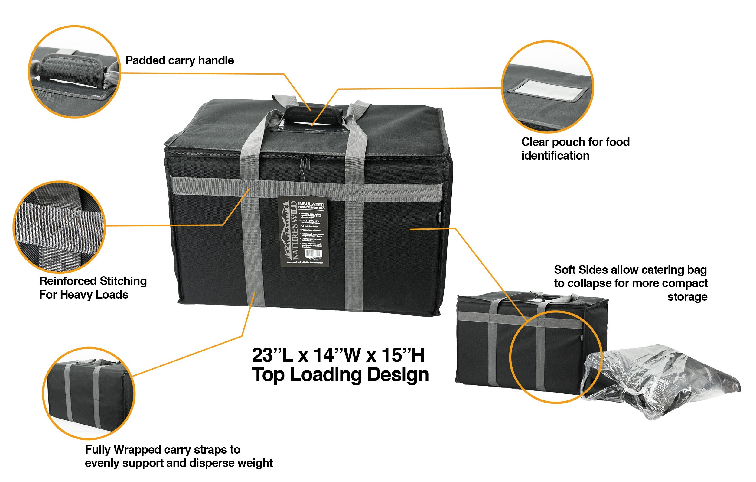 Food Delivery Bag - Premium Commercial Grade Made to accommodate Full Size Chafing Steam Trays - Thick Insulation Cooler Bags with Sturdy Padded Handles - Keeps Foods hot or Cold by Nature's Wild (Image #2)